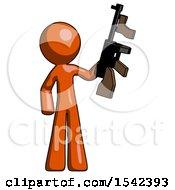 Orange Design Mascot Man Holding Tommygun