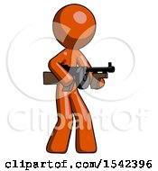 Orange Design Mascot Man Tommy Gun Gangster Shooting Pose