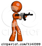 Orange Design Mascot Woman Shooting Automatic Assault Weapon