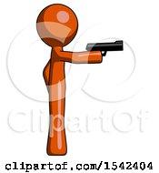 Orange Design Mascot Man Firing A Handgun