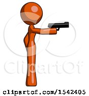 Orange Design Mascot Woman Firing A Handgun