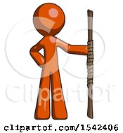 Orange Design Mascot Man Holding Staff Or Bo Staff