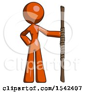 Orange Design Mascot Woman Holding Staff Or Bo Staff