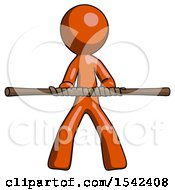 Orange Design Mascot Man Bo Staff Kung Fu Defense Pose