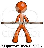 Orange Design Mascot Woman Bo Staff Kung Fu Defense Pose