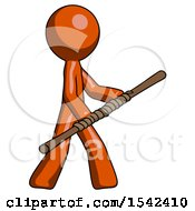 Orange Design Mascot Man Holding Bo Staff In Sideways Defense Pose