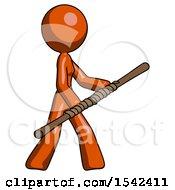Orange Design Mascot Woman Holding Bo Staff In Sideways Defense Pose