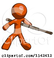 Orange Design Mascot Man Bo Staff Action Hero Kung Fu Pose