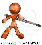 Orange Design Mascot Woman Bo Staff Action Hero Kung Fu Pose