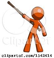 Orange Design Mascot Man Bo Staff Pointing Up Pose