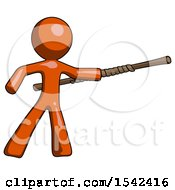 Orange Design Mascot Man Bo Staff Pointing Right Kung Fu Pose