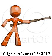 Orange Design Mascot Woman Bo Staff Pointing Right Kung Fu Pose