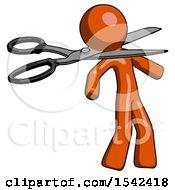 Orange Design Mascot Man Scissor Beheading Office Worker Execution