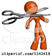 Orange Design Mascot Woman Scissor Beheading Office Worker Execution