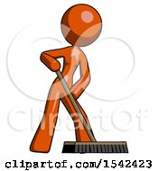 Orange Design Mascot Woman Cleaning Services Janitor Sweeping Floor With Push Broom