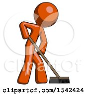 Orange Design Mascot Man Cleaning Services Janitor Sweeping Side View