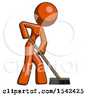 Orange Design Mascot Woman Cleaning Services Janitor Sweeping Side View