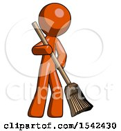 Orange Design Mascot Man Broom Fighter Defense Pose