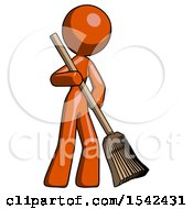 Orange Design Mascot Woman Broom Fighter Defense Pose