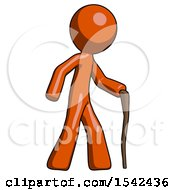 Orange Design Mascot Man Walking With Hiking Stick
