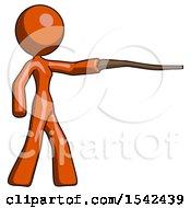 Orange Design Mascot Woman Pointing With Hiking Stick