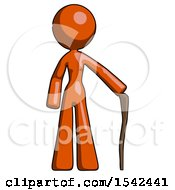 Orange Design Mascot Woman Standing With Hiking Stick