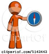 Orange Design Mascot Man Holding A Large Compass
