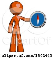 Orange Design Mascot Woman Holding A Large Compass