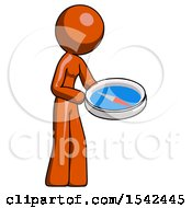 Orange Design Mascot Woman Looking At Large Compass Facing Right