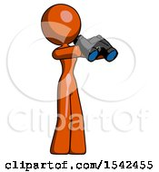 Orange Design Mascot Woman Holding Binoculars Ready To Look Right