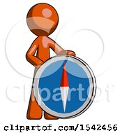 Orange Design Mascot Man Standing Beside Large Compass