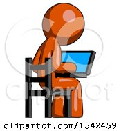 Orange Design Mascot Man Using Laptop Computer While Sitting In Chair View From Back