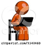 Orange Design Mascot Woman Using Laptop Computer While Sitting In Chair Angled Right
