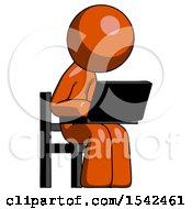 Orange Design Mascot Man Using Laptop Computer While Sitting In Chair Angled Right