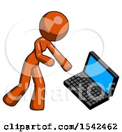 Orange Design Mascot Woman Throwing Laptop Computer In Frustration