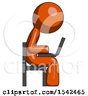 Orange Design Mascot Man Using Laptop Computer While Sitting In Chair View From Side