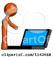 Orange Design Mascot Man Using Large Laptop Computer Side Orthographic View