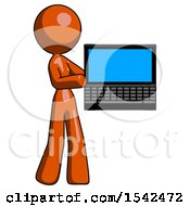 Orange Design Mascot Woman Holding Laptop Computer Presenting Something On Screen