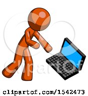 Orange Design Mascot Man Throwing Laptop Computer In Frustration