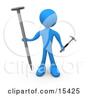 Blue Person Holding A Large Nail And A Tiny Hammer Stuck Dealing With Trying To Accomplish A Complicated Task Clipart Illustration Image by 3poD