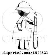 Ink Explorer Ranger Man Holding Large Envelope And Calligraphy Pen