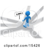 Blue Person Standing On A Path That Forks Off Into Different Directions Trying To Decide Which Way To Go While Facing A Links Sign Clipart Illustration Image