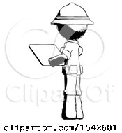 Ink Explorer Ranger Man Looking At Tablet Device Computer With Back To Viewer