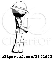 Ink Explorer Ranger Man Show Tablet Device Computer To Viewer Blank Area