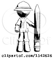 Ink Explorer Ranger Man With Large Pencil Standing Ready To Write