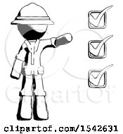 Ink Explorer Ranger Man Standing By List Of Checkmarks