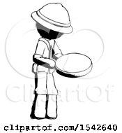 Ink Explorer Ranger Man Looking At Large Compass Facing Right