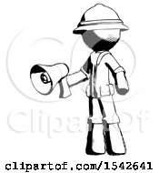 Ink Explorer Ranger Man Holding Megaphone Bullhorn Facing Right