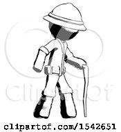 Ink Explorer Ranger Man Walking With Hiking Stick