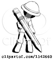 Ink Explorer Ranger Man Writing With Large Pencil